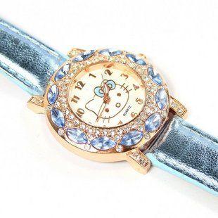 Горячие Продажи Cute Hello Kitty Часы Childlren Девушки Женская Мода Кристалл Кварцевые Наручные Часы Женские Часы 1072