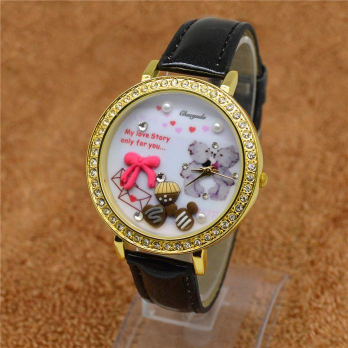 Полимерная глина медведь лошадь банан шоколад девушка студентов смотреть Европейской и Американской моды часы часы Английской мебели