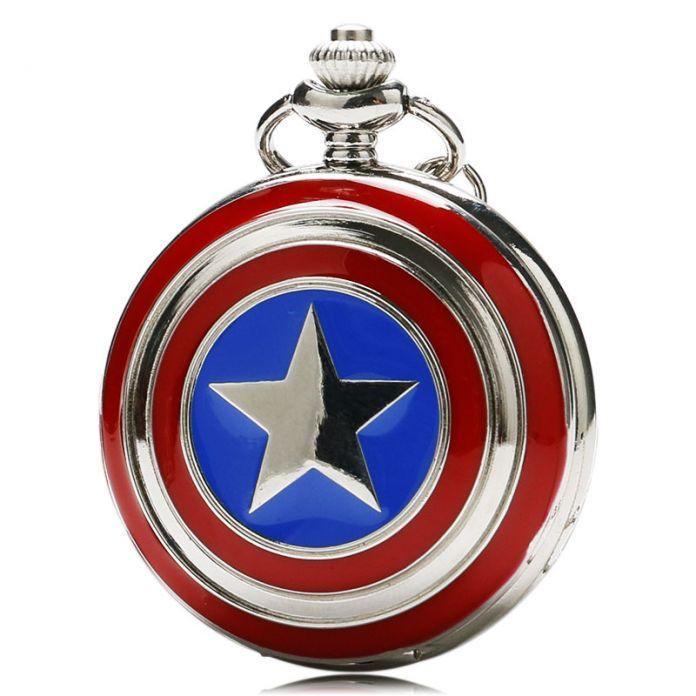 2015 новый карманные часы капитан американской звезда щит Relogio де Bolso подвеска часы с ожерельем цепи