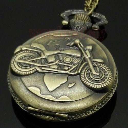 Античная бронзовая мотоцикла мотоцикл мото карманные часы ожерелья мужчины подарок P79