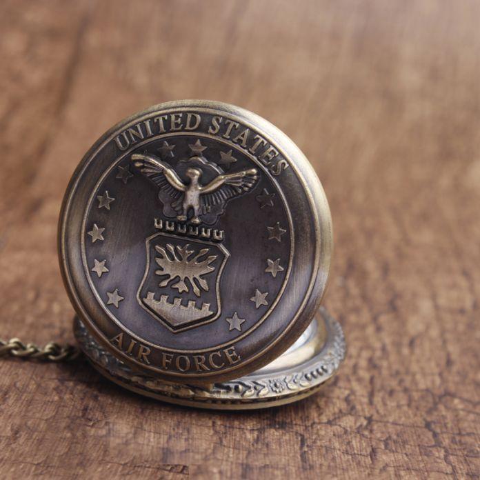 Винтаж Ввс Сша Орел Звезды Стиль Кварцевые Карманные часы Мужчины женщины БРЕЛОК Сеть Мужчины Кварцевые Часы Любителей relogio feminino