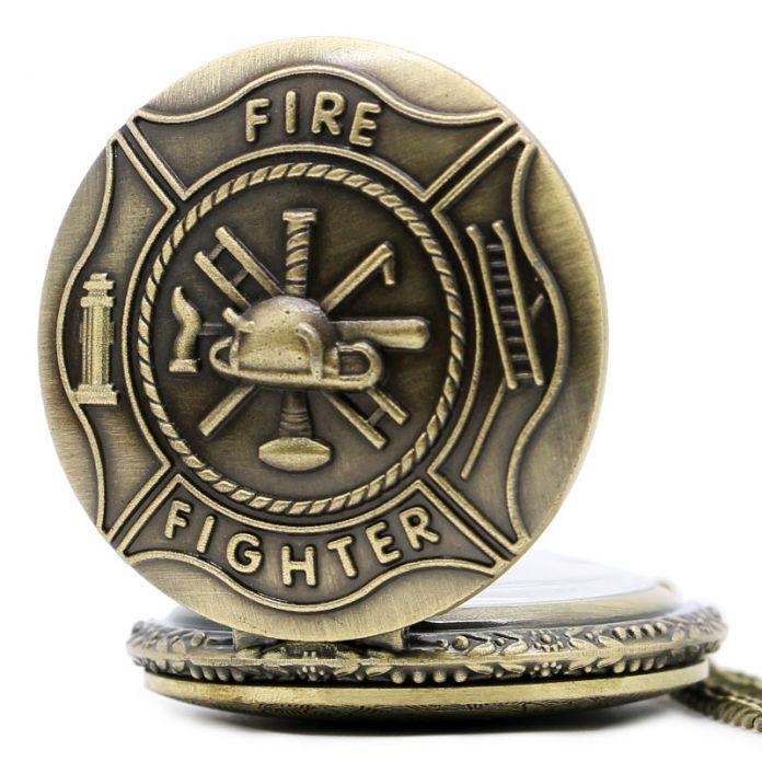 Бронзовый Пожарник Управления Кварцевые Карманные Часы Кулон Ожерелье Подарок P106