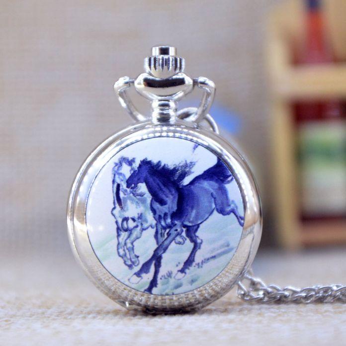 Новая Мода Серебряный Красивый Конь единорог с Зеркалом Случае Кварцевые Карманные Часы Аналоговые Ожерелье Женщин Людей Подарков P358-61