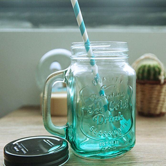 2015 Моя Личность Градиент Цвета Mason Jar Бутылки Для мороженое Фрукты Установлен Холодный Напиток Настой Цветные Стеклянные Бутылки с Водой