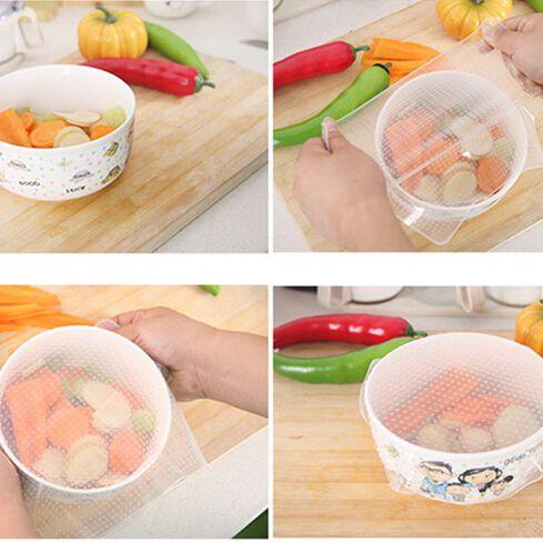 Кухня ясно обернуть прокладка крышки прозрачный многоразовые продовольственная обертывания свежая еда учета саран обернуть 20 x 20 см
