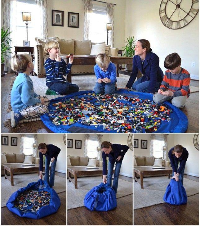 Хранения большой размер портативный дети ребенок младенец играть мат большой игрушки организатор одеяло коврик боксы для Lego игрушки мат
