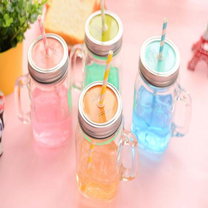 450 MLGlass бутылка хранения Банки Каменщик Банку стеклянные чашки напитка кружка с крышкой соломы сок бутылка с ручкой для хранения бутылки чашки