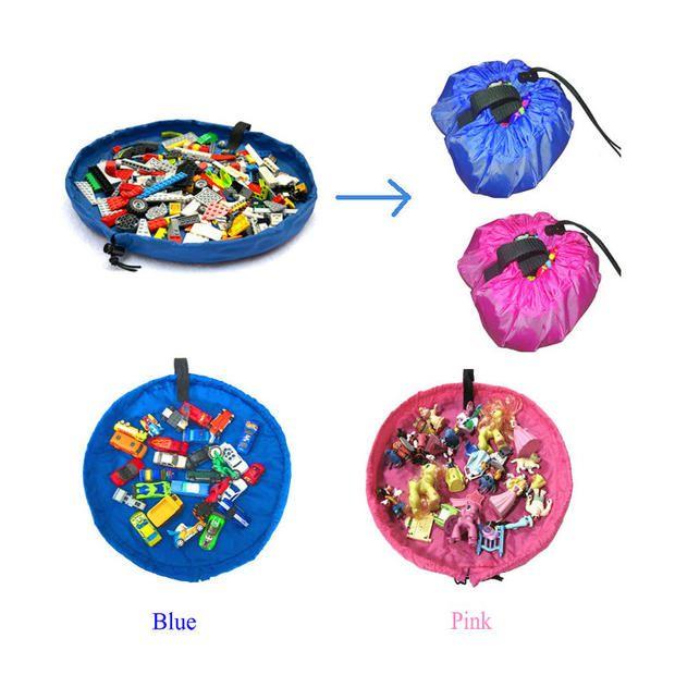 Портативный дети хранения играть мат большие сумки хранения игрушки организатор одеяло коврик боксы для игрушки хранения ( 3 размер 5 основных цветов )