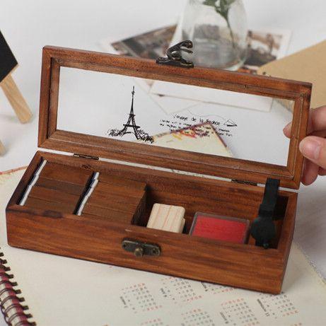 Бесплатная Доставка Прозрачная крышка ретро старый деревянный ящик карандаш деревянная шкатулка деревянная башня многофункциональный ящик канцелярские