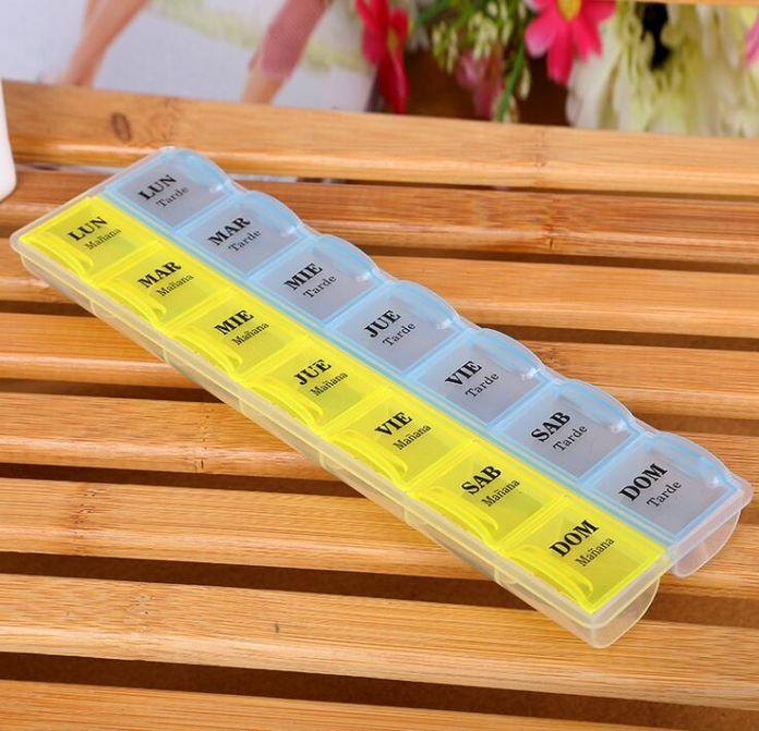 Еженедельно 7 Дней Случае Таблетки Таблетки Коробка Для Хранения Медицина Организатор Контейнер Организатор Pillbox Наркотиками Сортировщик 14 Слотов 2 Цветов GYH