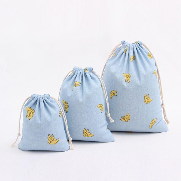 Хлопок льняной ткани сумка для хранения путешествия сумка с drawstring симпатичные банан печати конфеты организатор подарок для ребенка