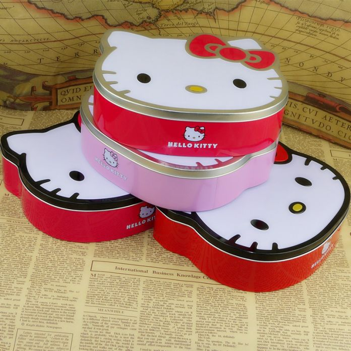 1 Шт. Hello Kitty Милый Кот Форме Жестяную Коробку Конфет Держатель или Как Мелкие Предметы Держатель
