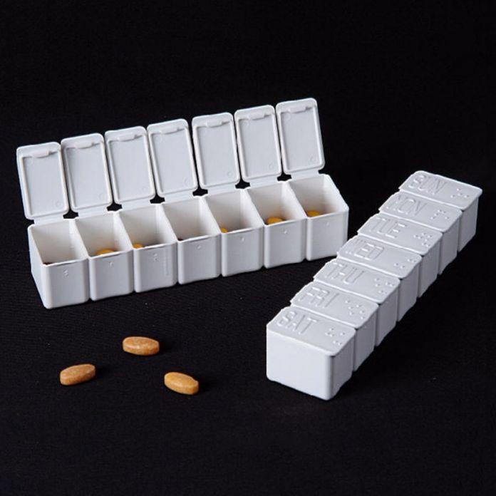 7 Дней Еженедельный Таблетки Брайля Признание Pill Box Медицина Чемодан Пластиковых Таблетки Таблетки Дело Организатор Хранения