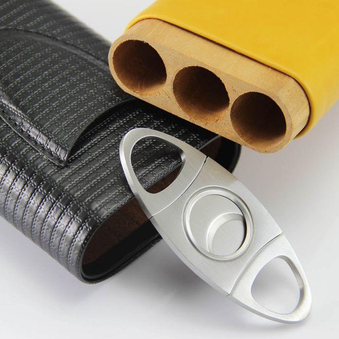 Натуральная Кожа С Тиснением Кедр Выстроились 3 Пробки Портсигар Держатель с Резцом (Черный и желтый), Пригодный для COHIBA сигары