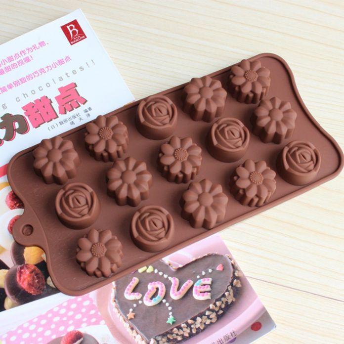 Новый 15-rose силикона цветка льда шоколад формы мыло силиконовые формы фондант 3D кекс для выпечки форма для выпечки пан