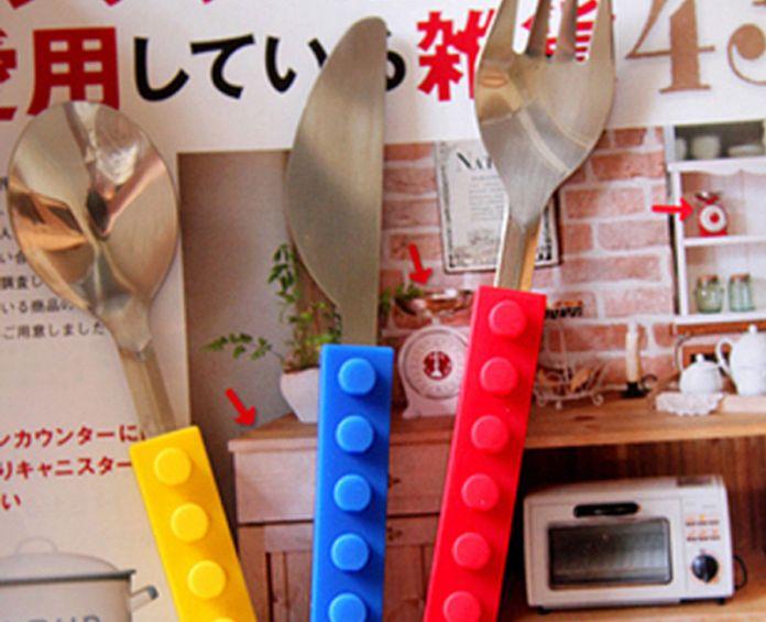 Творческий Lego кирпича силиконовые нержавеющей стали портативный путешествия дети взрослых столовые приборы вилка ложка комплект для пикника подарок для ребенка посуда