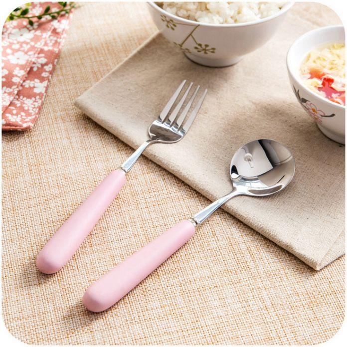 Матовой керамической ручкой ложка Западная столовые приборы вилка ложка перемешивание ложка детская ложка Посуда подарочный Набор