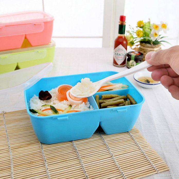 Lunch Box 3 Отсеков С Ложка Бенто Коробка Пищевых Контейнеров Микроволновая Печь Кухня Посуда Студент Портативный Экологично