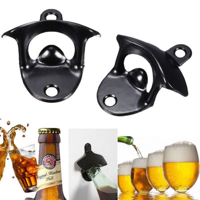 Новая Мода Черный Мини Настенное Крепление Из Нержавеющей Стали Бар Пивной Бокал вина Cap Открывалка Для Бутылок Инструменты