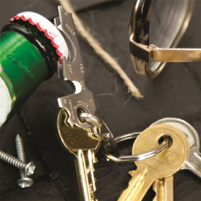 Нулевой Многофункциональный 8in1 открытых гаджеты из нержавеющей стали брелок открывалка для бутылок