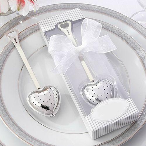 В форме сердца дизайн ложка заварки чая фильтр свадьба сувенир свадебный душ пользу подарок 6NAR