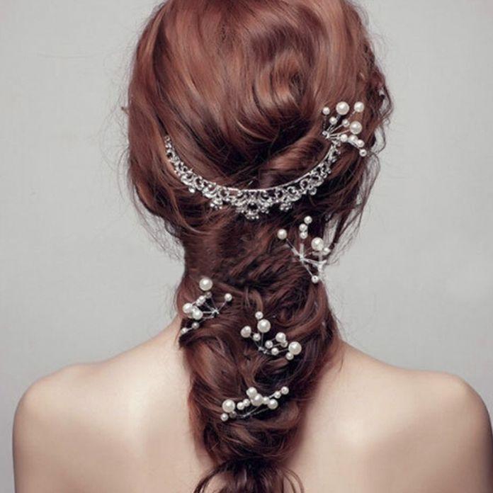Горячая цветок кристалл заколки женщины мода типа шпилька мода модный свадебное перл невесты ювелирные изделия 1 шт.