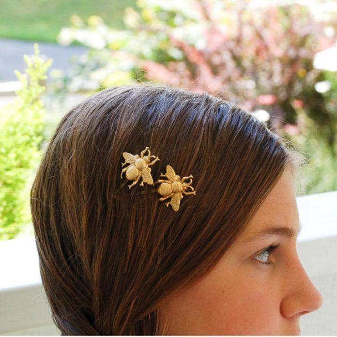 Tonsee 2 ШТ. Стиль Девушка Изысканный Золотая Пчела Шпилька Сторона Клип Аксессуары Для Волос
