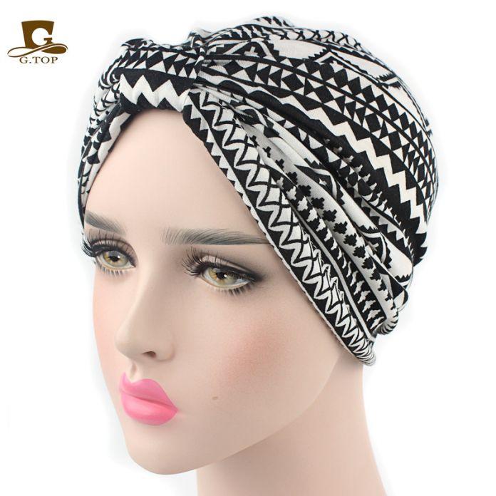 Новый стиль винтаж Хлопок цветочный принт Химио Бандана Хиджаб Плиссе Индийский Тюрбан Hat Повязка Wrap Cap