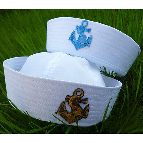 2016 Новая Мода Белый Сейлор Вмф Hat Cap с Якоря для Необычные Платья Sailor Морской Doughboy Cap Hat Бесплатная Доставка