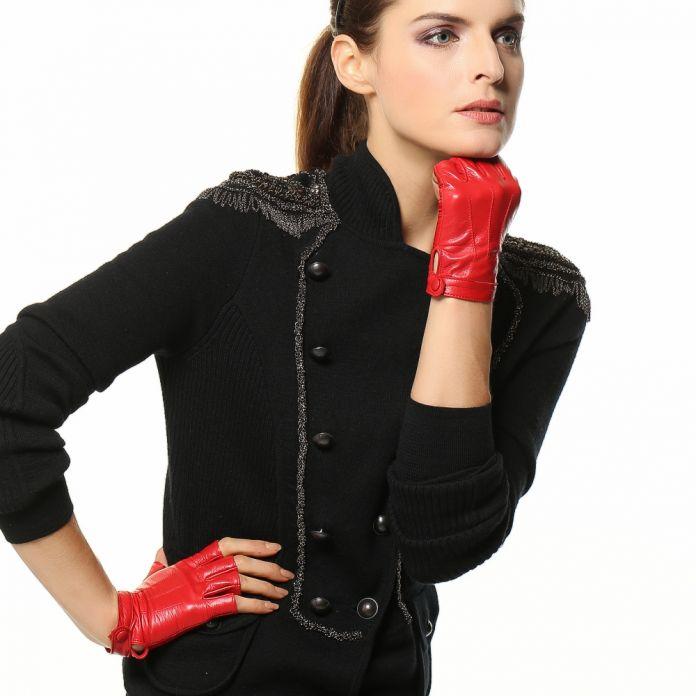 Высочайшее Качество Женщины Водительские Перчатки Из Натуральной Кожи Овчины Половина Палец Перчатки Из Овчины Горячие Продажа Пальцев Рукавицы L135NN