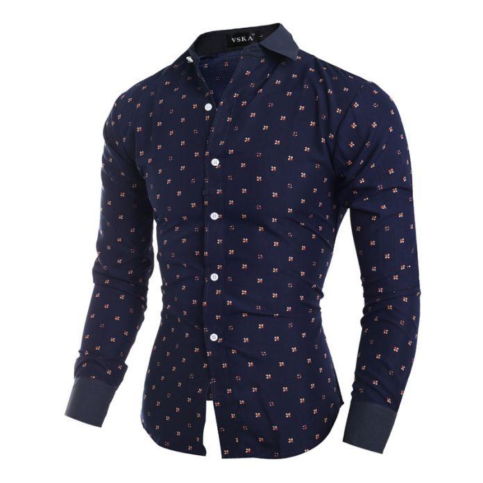 2015 новый бренд цветочные принты 4 цвет мода цветок мужские рубашки с длинным рукавом slim-подходят свободного покроя социальный Camisas Masculinas XXL