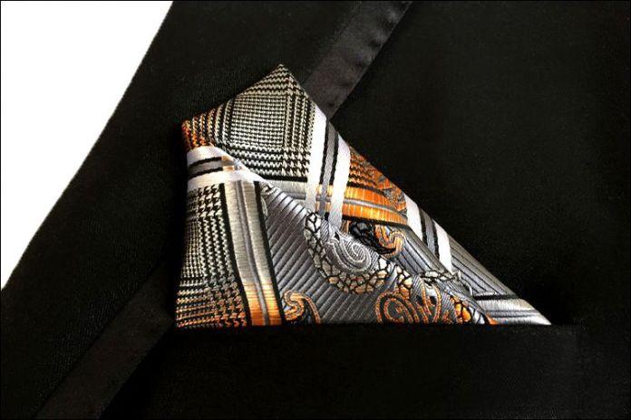 Бесплатная доставка пейсли золото серебристо-серый шелковый ханки 100% мужские жаккардовые переплетения карманные площадь / ну вечеринку платки / платками