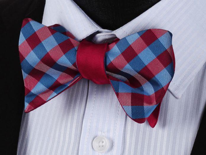 Be02r красный проверка 100% шелк двусторонняя тканые мужчины бабочка самостоятельная бабочкой карманный площадь платок носовой платок костюм комплект