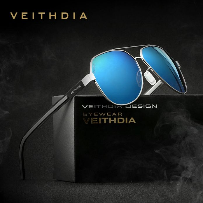 """Солнечные очки """"авиаторы"""" с синим зеркальным поляризованным покрытием. Очки для водителей. Солнцезащитные мужские очки. Аксессуары для мужчин и женщин."""