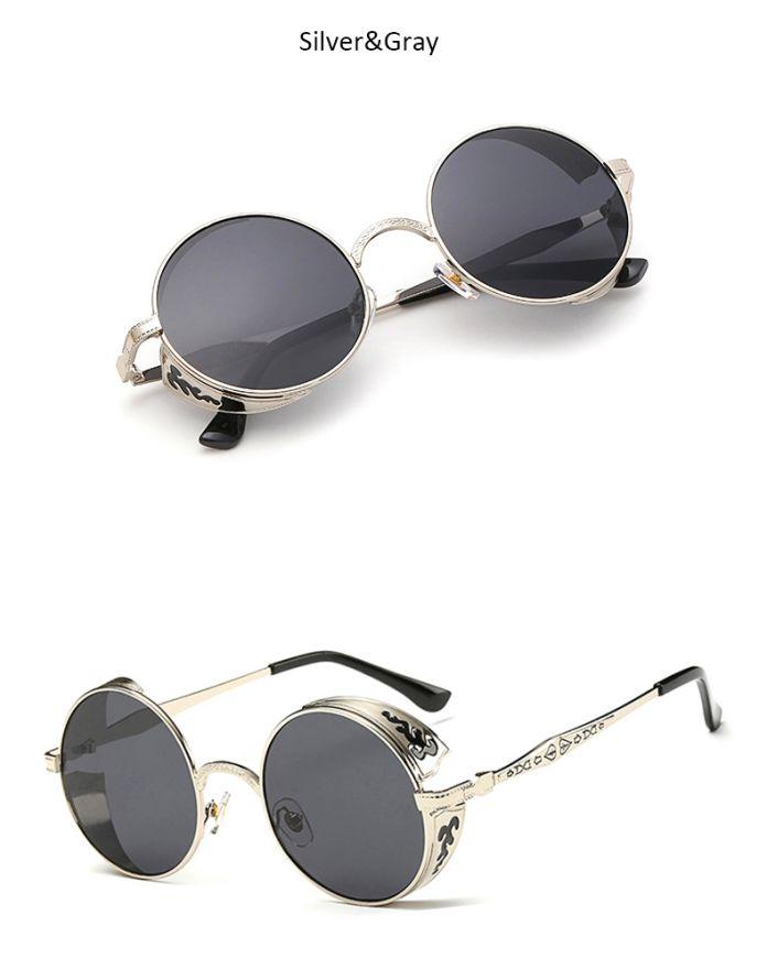 Hapigoo старинные готические круглые очки мужчины стимпанк резьба цветок металлический каркас покрытие зеркальные очки ретро мужские солнцезащитные очки