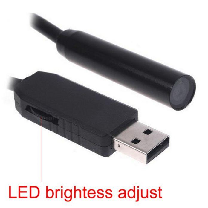 Черный 2 М 10 мм USB 4 СВЕТОДИОДНЫЙ Водонепроницаемый Бороскоп Эндоскопа Инспекционной Змея Пробки Камеры