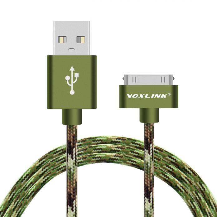 VOXLINK Быстрая Зарядка USB Кабель для iPhone 4s 4 для iPad 2 3 Камуфляж Плетеный 30pin Синхронизации Данных Кабели USB Шнур упаковка