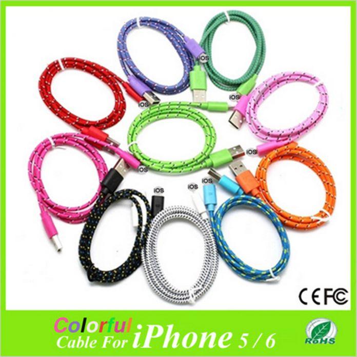 НОВЫЙ оригинальный качество 1/2/3 м Плетеный нейлон Провод 8 pin Usb-кабель Sync Тканые Зарядный кабель для Зарядного iphone 5 5s 6/s plus XEDAIN