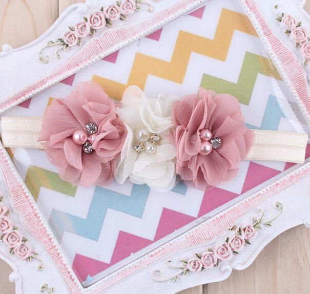 1 шт. новорожденный повязка на голову шифон 3 цветок жемчужина алмазов с мерцание ободки эластичность аксессуары для волос W045