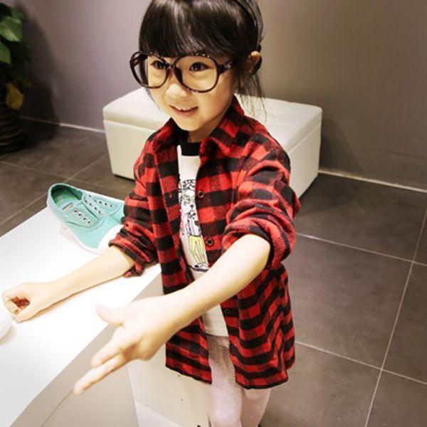 Мальчики и Девочки Малышей Дети С Длинным Рукавом Тройник Рубашки Пледы Проверяет Одежда 2-7Y