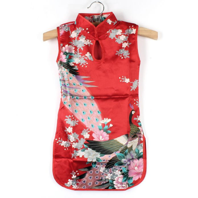 COCKCON Лето Китайский Ребенок Девушки ребенок Павлин Cheongsam Платье Qipao 2-8Y Одежда