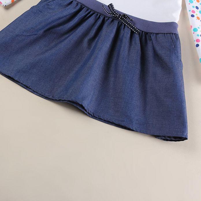 Одежда для девочек платья для девочек печатных dot детская одежда вышивка кролик с длинным рукавом весна осень 2016 девушки одеваются H5922