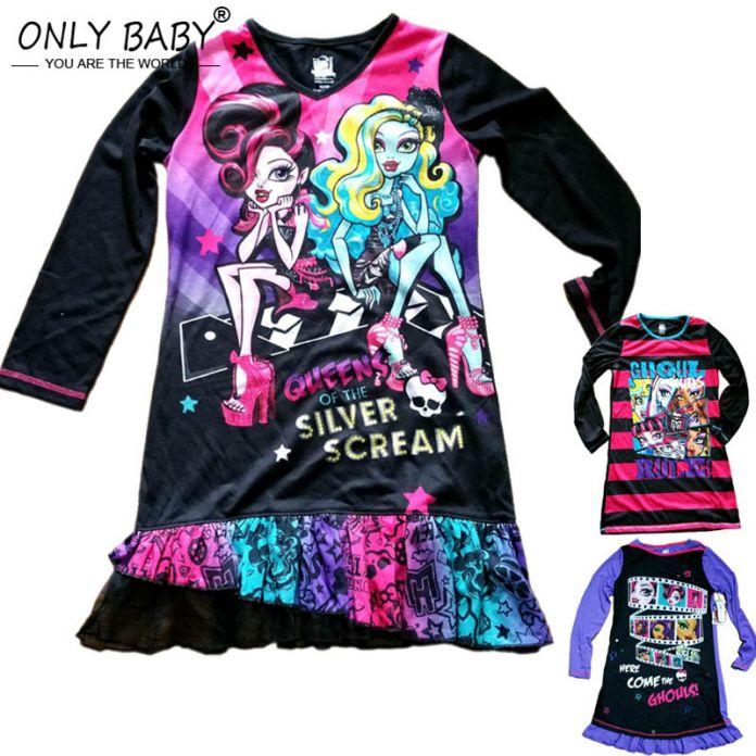 Платья монстр с длинным рукавом малышей платья пижама для девочек ночная сорочка высокое монстр пижамы девушка банный халат из 6 - 14 лет