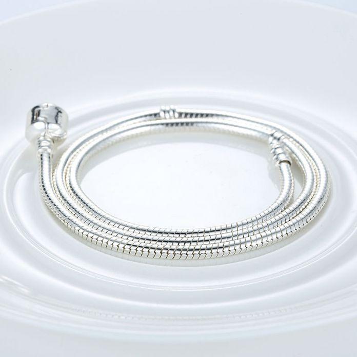 Мода 45 СМ Посеребренная Цепи Змейки Длинное Ожерелье Цепь Совместимо с VRC Ювелирные Изделия A2037