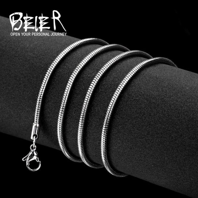 Байер из нержавеющей стали ожерелье 2.5 мм/3 мм/4.2 мм модный змея цепи ожерелье мальчик человек ожерелье цепи серебряный Цвет BN1004