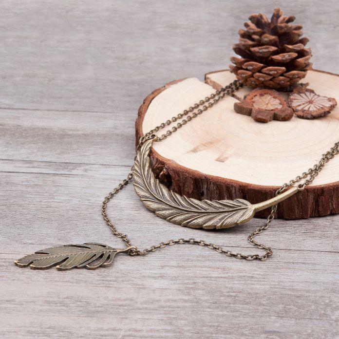 DoreenBeads двухслойные Старинные Лист и Перо Ожерелье длинные девушку античная бронза свитер цепи ожерелье ювелирные Изделия
