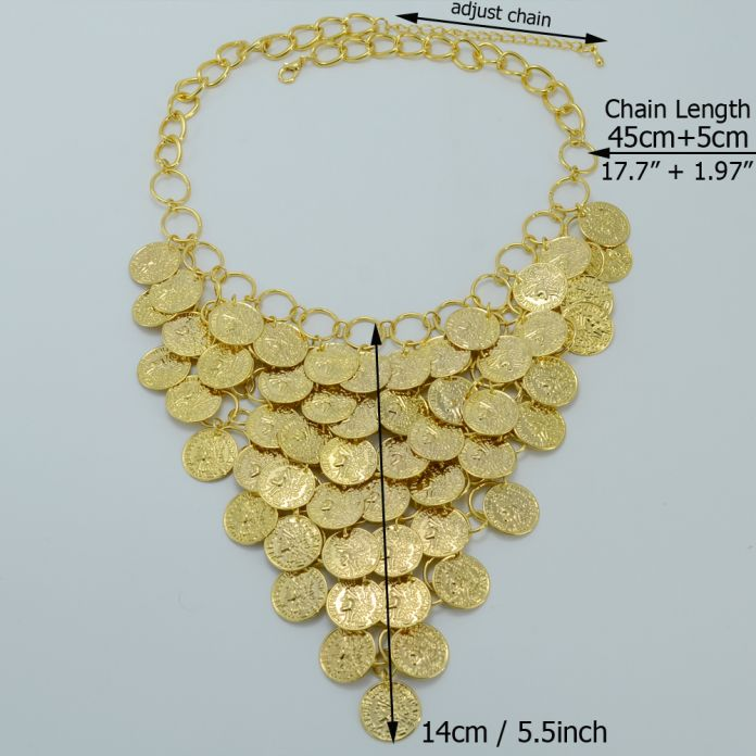 45 СМ + 5 СМ/Золотая Монета Ожерелье для Женщин, Нью-Металл монета Большой Ожерелья Африка Ювелирные Изделия Эфиопии Позолоченные Удача Подарок #060A060