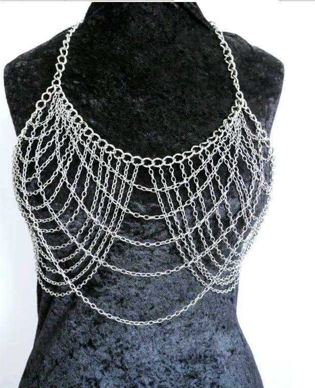 Горячая распродажа! Бесплатная доставка мода B663 женщин серебряные цепочки уникальный дизайн слои бюстгальтер тела цепи ювелирных изделий 2 цветов