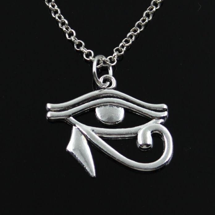 Новая мода древний египет глаз Гора Подвески круглый крест цепи короткие длинные Мужские Женские серебряное ожерелье Подарок Ювелирных Изделий