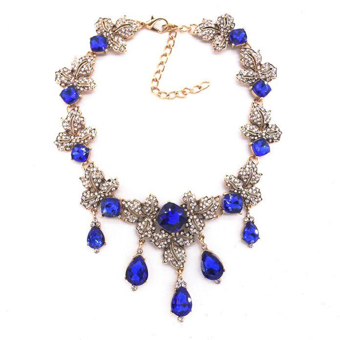 Новый женский мода ювелирных лучший рождественский подарок для девочки голубой кристалл себе подвески старинные горный хрусталь ожерелья